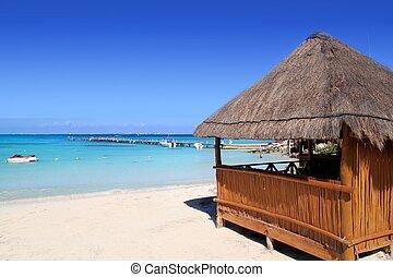 tropikalny, turkus, karaibski, kabina, morze