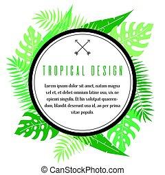 tropikalny, ułożyć, dłoń listowie