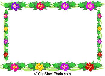 tropikalny, ułożyć, kwiat, liście