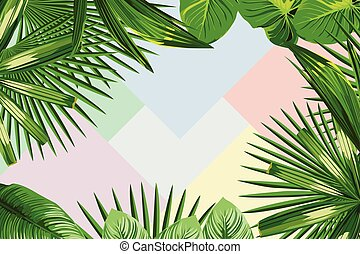 tropikalny, ułożyć, liście
