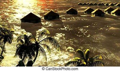 tropikalny, uciekanie się, tsunami, devastating