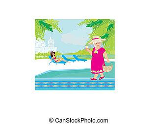 tropikalny, uciekanie się, urlop