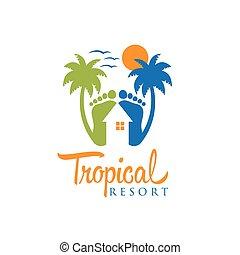 tropikalny, uciekanie się, wektor, projektować, szablon