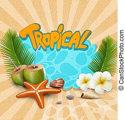 tropikalny, wektor, chorągiew