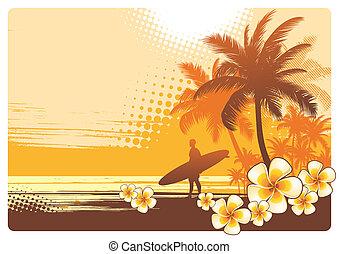 tropikalny, wektor, krajobraz, ilustracja, surfer