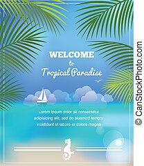 tropikalny, wektor, tło, raj