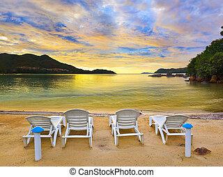 tropikalny, zachód słońca plaża