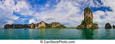 tropikus, óceán, partra visz, panoráma, alatt, krabi, thaiföld