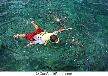 tropikus, búvárpipa, lagúna, ember