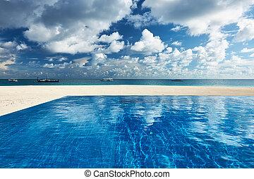 tropikus, fényűzés, pocsolya, úszás