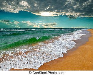 tropikus, felett, napkelte, tenger