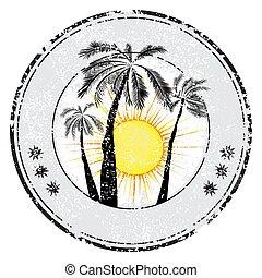 tropikus, grunge, hely, bélyeg, nap, ábra, gumi, vektor, pálma, szöveg, -e