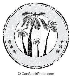 tropikus, grunge, hely, bélyeg, szöveg, -, ábra, gumi, vektor, pálma, fehér, -e