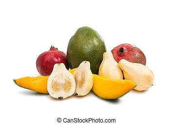 tropikus, guajáva, mangó, gyümölcs, gránátalma
