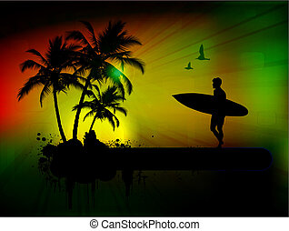tropikus, háttér, hullámlovas