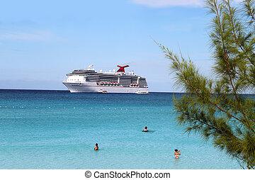tropikus, hajó, és, tengerpart