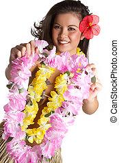 tropikus, hawaii virágfüzér, nő, virág