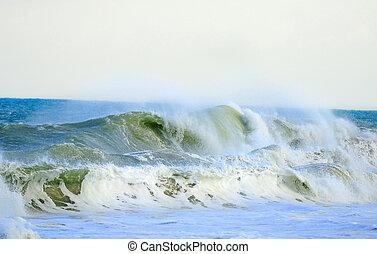 tropikus, közben, óceán, megrohamoz, lenget