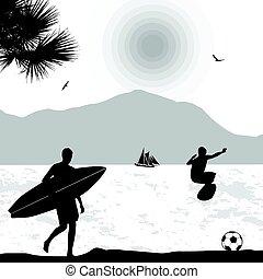 tropikus, kilátás a tengerre, árnykép, surfers