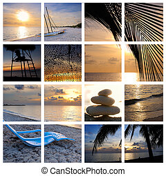 tropikus, kollázs, tengerpart, napnyugta