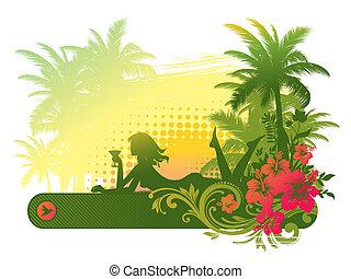 tropikus, leány, árnykép, táj, koktél