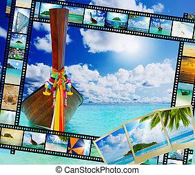 tropikus, longtail, tengerpart, csónakázik, tenger