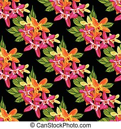 tropikus, motívum, flowers., virágos, seamless