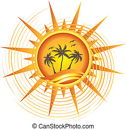 tropikus, nap, tervezés, arany, jel