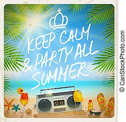 tropikus, nyár, tengerpart buli