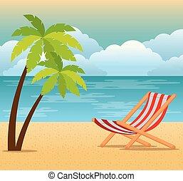 tropikus, nyár, tengerpart táj