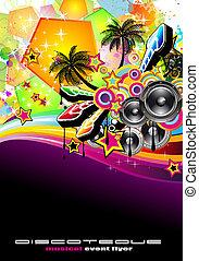 tropikus, repülő, zene, esemény, disco
