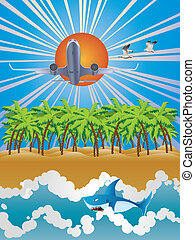 tropikus, repülőgép, felett, sziget