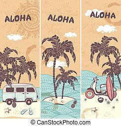 tropikus, szüret, szalagcímek, sziget
