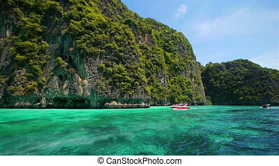 tropikus, thaiföld, sziget, elgáncsol, csónakázik
