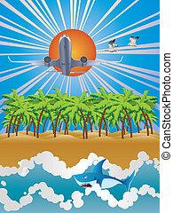 tropique, avion, sur, île
