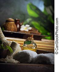 tropique, couleur, spa, vue, dos, thème, authentique, objets