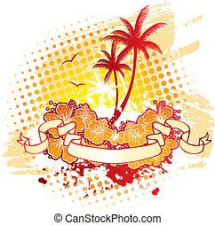 tropique, dos, paumes