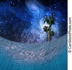 tropique, scène nuit, sous-marin