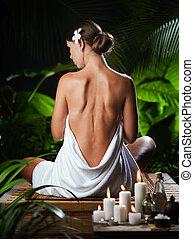 tropique, spa, environnement, méditer, vue, jeune, gentil, femme