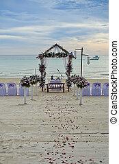 tropiques, haut., cérémonie, ensemble, beau, mariage