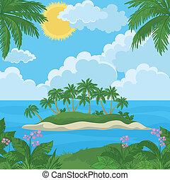 tropisch eiland, bloemen, palmen