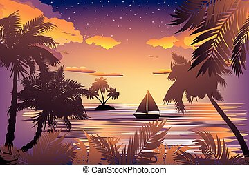 tropisch eiland, ondergaande zon
