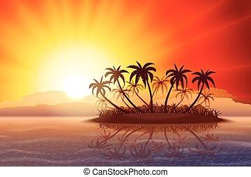 tropisch eiland, op, ondergaande zon