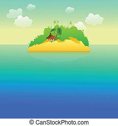 tropisch eiland, palmbomen