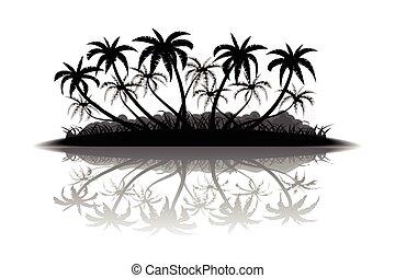 tropisch eiland, silhouette