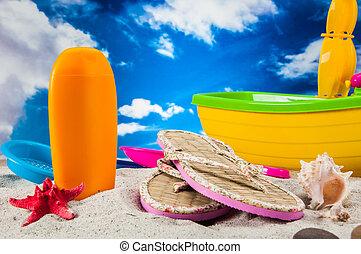 tropisch strand, feestdagen, concept