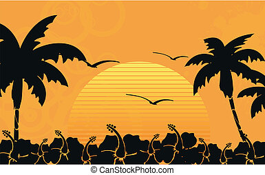 tropisch strand, hawaiian, wallpaper10