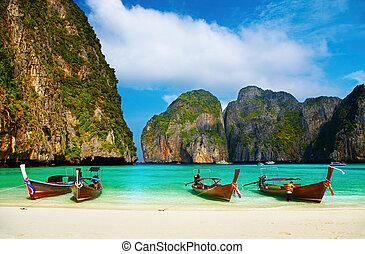 tropisch strand, maya, baai, thailand