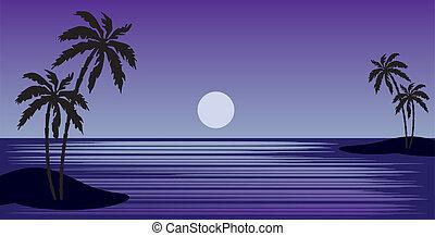 tropisch strand, met, palmbomen