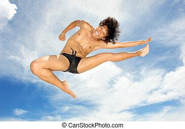 tropische , akrobat, auf, strand.